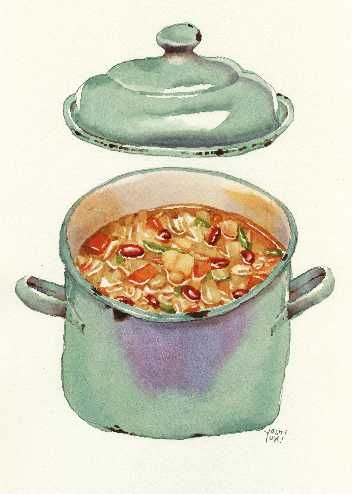 soup in stock pot watercolor
