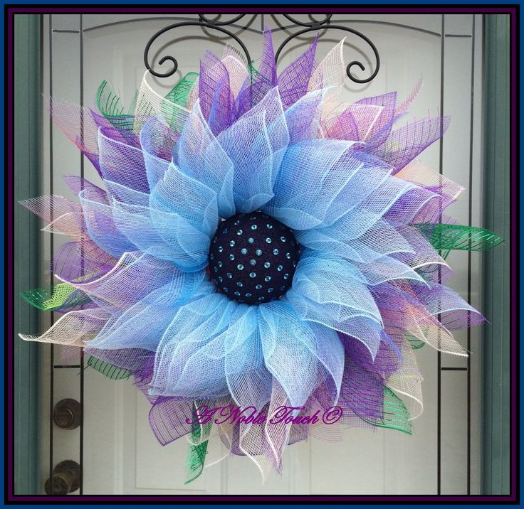 Rhinestone Gem Center, Blue, Ombre, and Purple Wreath, Deco Mesh Wreath, Spring Wreath, Summer Wreath, Front Door Wreath, by A Noble Touch by ANobleTouch on Etsy