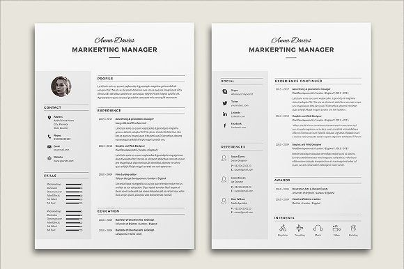 Resume Cv Anna by Estartshop on @creativemarket Ready for Print Resume template examples creative design and great covers, perfect in modern and stylish corporate business. Modern, simple, clean, minimal and feminine layout inspiration to grab some ideas.