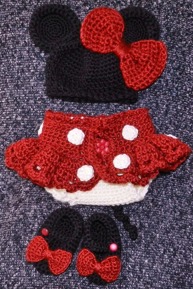 Hand Crochet Newborn Baby Girl DISNEY Minnie Mouse Outfit Hat diaper cover with tu-tu skirt and shoes - in RED or Pink. $55.00, via Etsy.