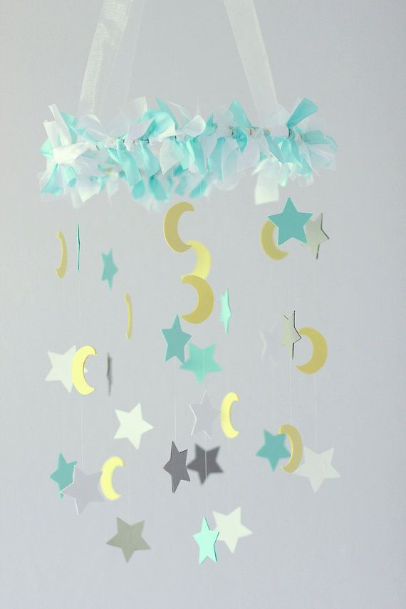 Moon  Star Nursery Mobile in Aqua Gray Yellow by LoveBugLullabies. Might be able to make something like this.