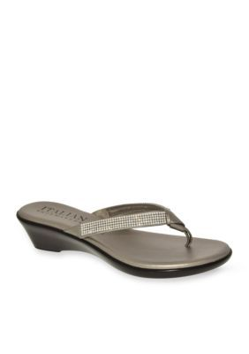 Italian Shoemakers Pewter Ivory Sandal