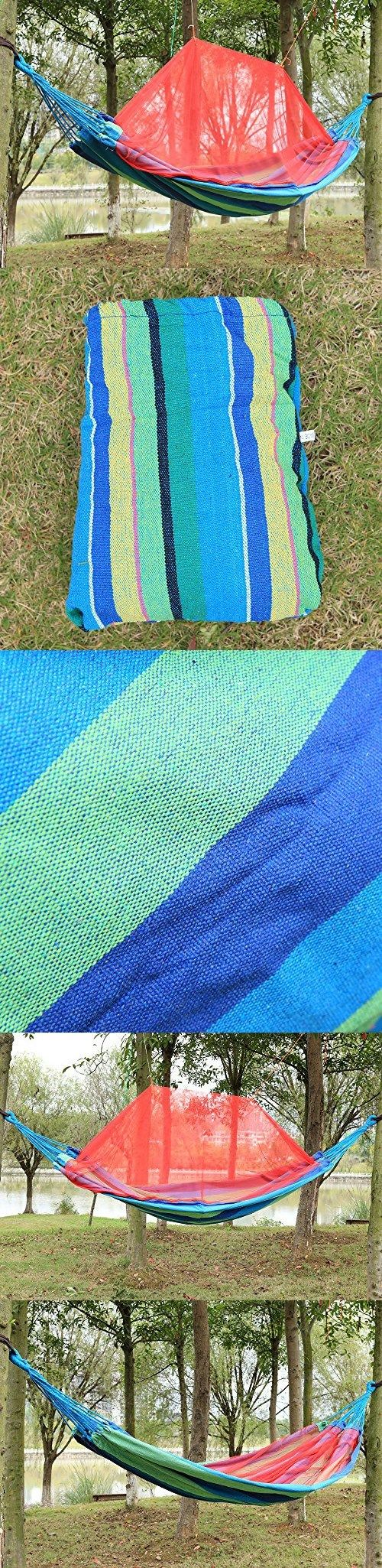 Pparty Supereme Comfort Portable Camping Hammock with Mosquito Net and Carry Pouch -Double 450lbs Max. Relaxing, Comfortable  Fun - Soft Woven Cotton Bed (Lake Blue Stripes)