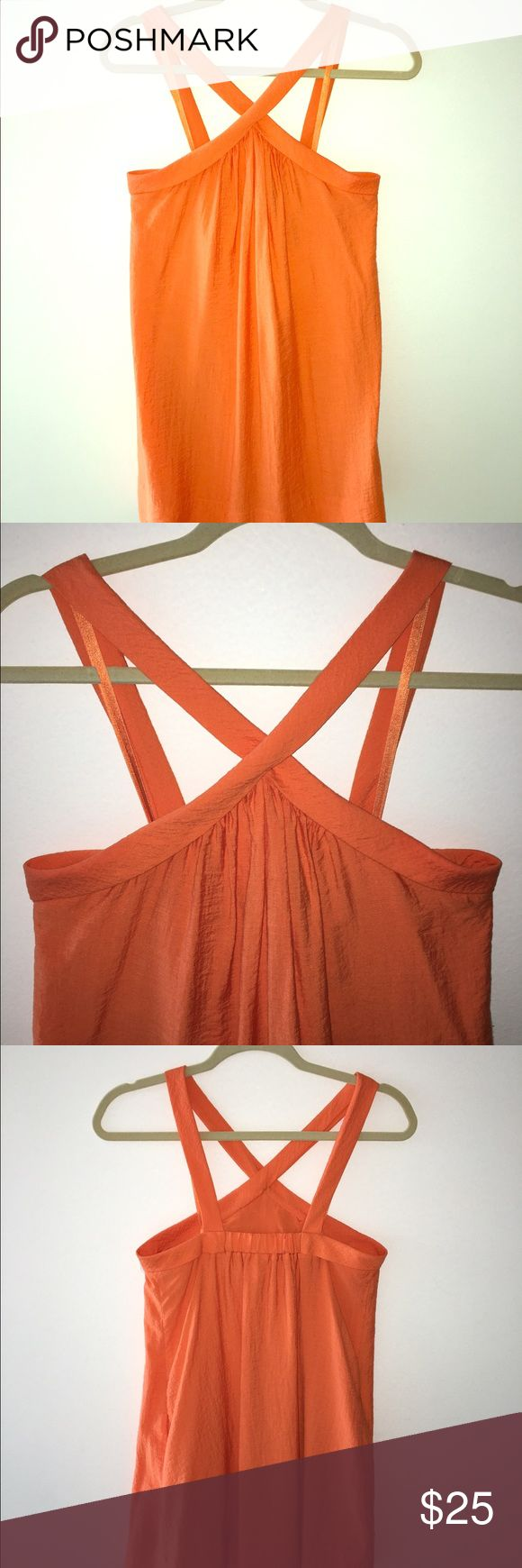 BCBG Dress Adorable orange cross neck shift with POCKETS! Worn twice. Pair with gold wedges and a bright clutch. Perfect for your next tropical getaway. Length 35 in. Fits a size2. Comes from a smoke and pet free home. BCBG Dresses