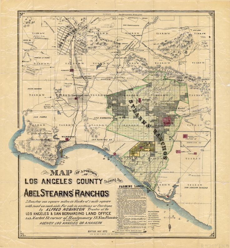 1873 Map showing the Spanish Rancho's.