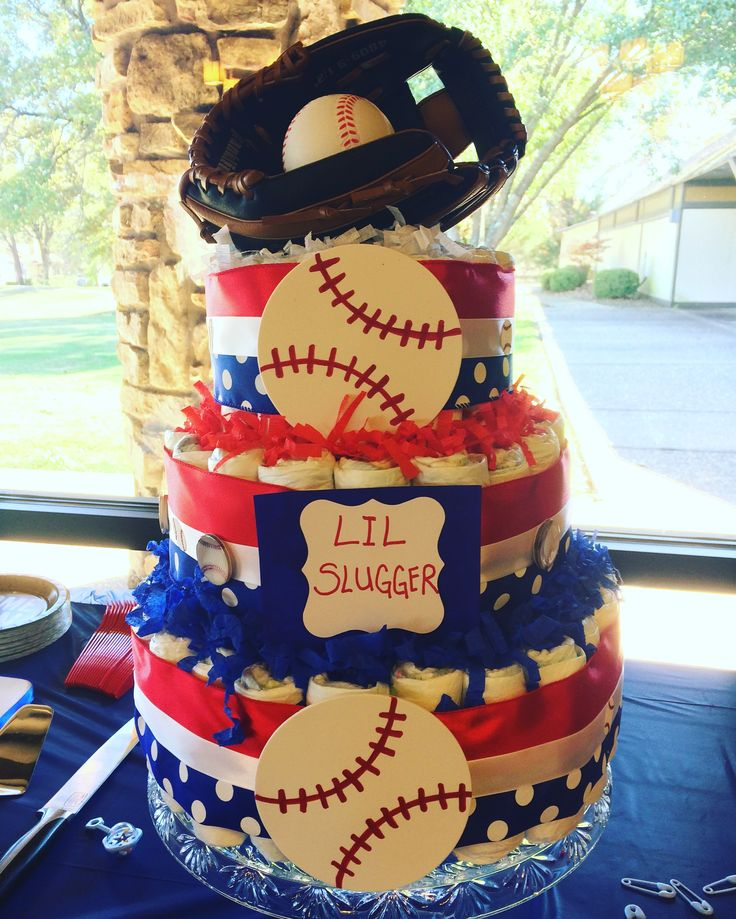 Baseball baby shower themed diaper cake.