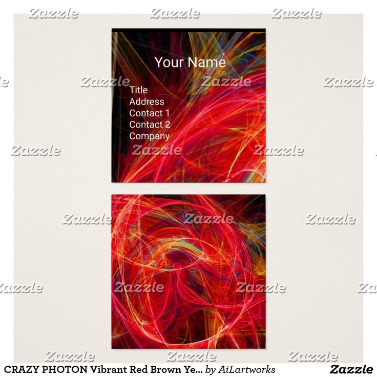 CRAZY PHOTON Vibrant Red Brown Yellow Swirls Square Business Card #geek #nerd #fractals #abstract #geometric #beauty
