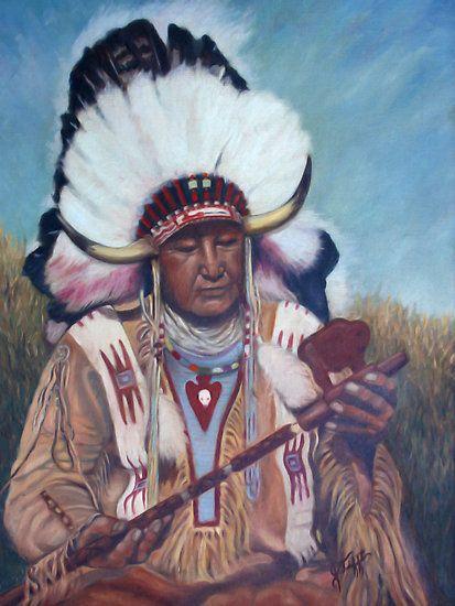 """Native American Chief Painting"" by JamieTifft | Redbubble www.redbubble.com413 × 550Buscar por imagen Native American Chief Painting by JamieTifft  LAS MANOLAS - Buscar con Google"