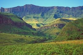 'the dragon mountain' or Drakensberg.