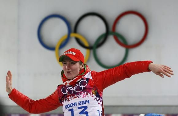 CREDIT: REUTERS/STEFAN WERMUTH ▼14Feb Reuters|Domracheva doubles up with 15km gold http://www.reuters.com/article/2014/02/14/us-olympics-biathlon-individual-idUSBREA1D1C620140214 #sochi2014 #biathlon #Domracheva #Belarus