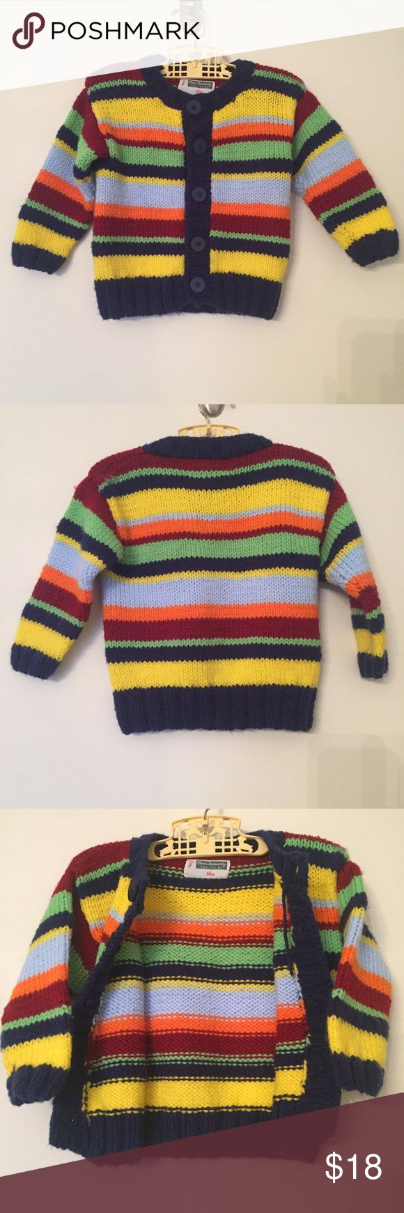 """Handmade Knit Cardigan This  adorable striped sweater has a label that reads, 'Made Especially For You by Mum'. Feels like sportweight acrylic yarn. Soft, not scratchy, and will be easy to wash. Stripes in red, green, navy blue, yellow, light blue, and orange.   Chest: 12""""  Length: 14"""" Shirts & Tops Sweaters"""