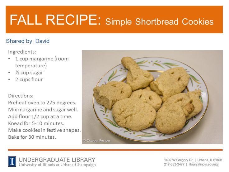 Simple Shortbread Cookies recipe from David. Cookbook recommendation: The Gourmet Vegetarian Slow Cooker : Simple and Sophisticated Meals from Around the World by Lynn Alley (http://ow.ly/pSYSL)