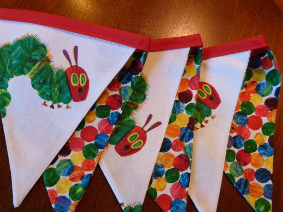 The Very Hungry Caterpillar - Polka Dot - Party,  Birthday, Playroom, Classroom Decorating 6 Bunting Flags 4.5 feet