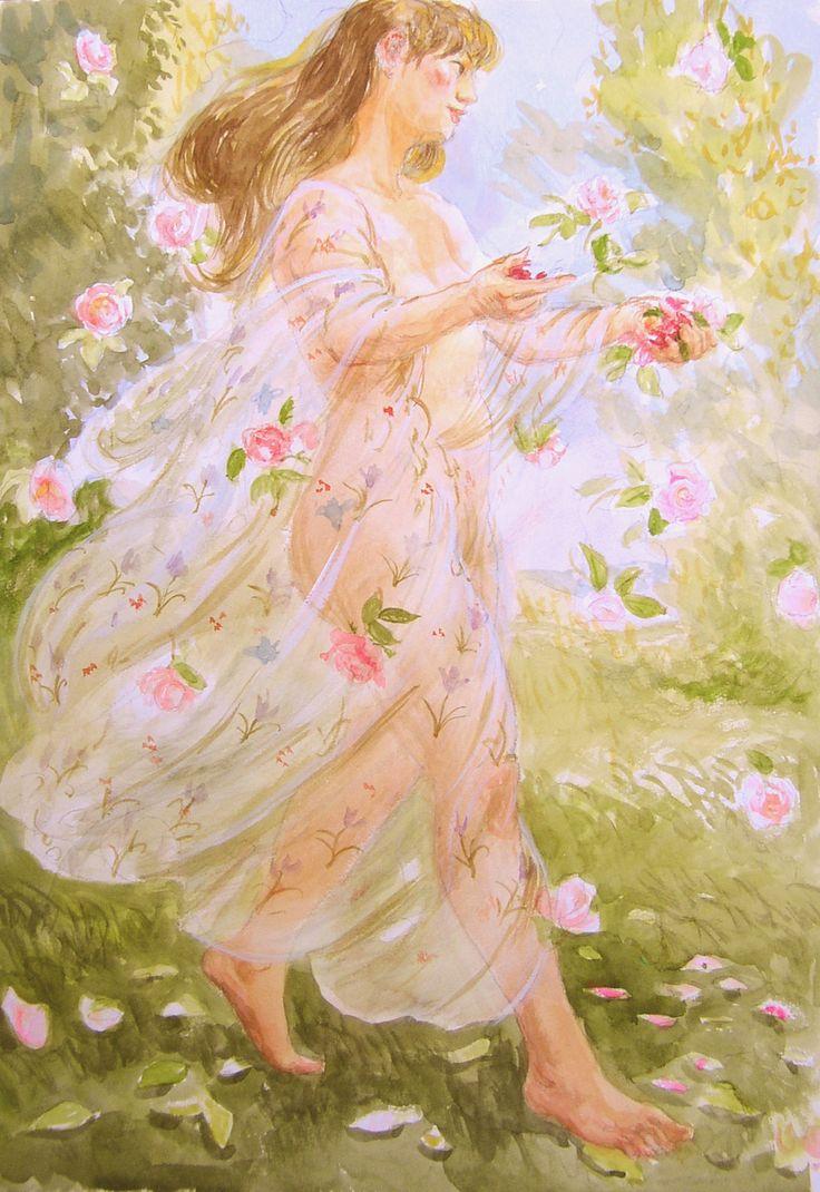 花の女。神女神の絵アイデア