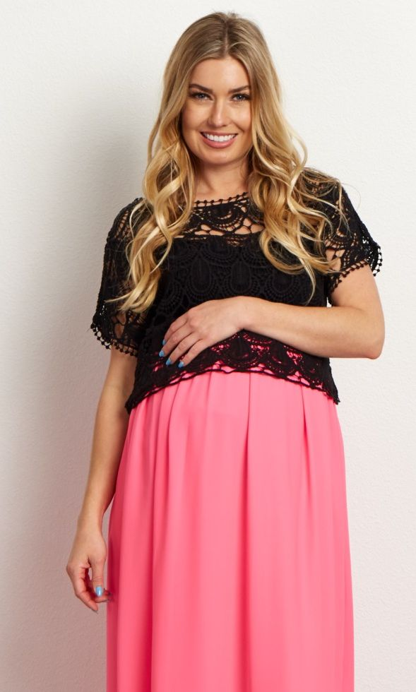 This oh-so-trendy maternity crop top is one of the hottest styles this season. An open crochet detail beautifully pairs with a maternity skirt for a feminine ensemble you can wear for any occasion. Layer this top over a maternity cami and style with your favorite wedges or sandals for a perfect finish.