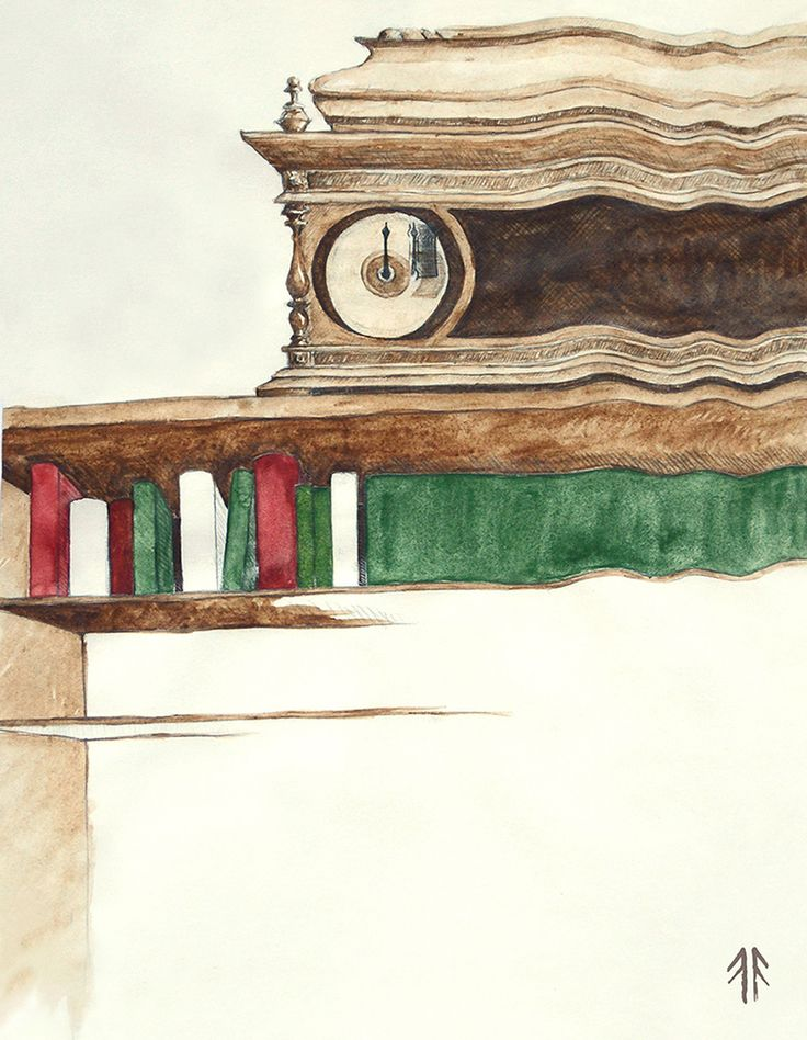 Library (by Fikus), Watercolours and Pencil