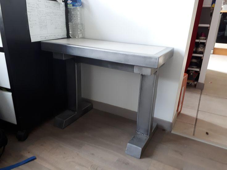 Attrayant Banc Beton Cire #10: DIY Banc Acier Metal Beton Cire (indus Concrete Steel Bench)
