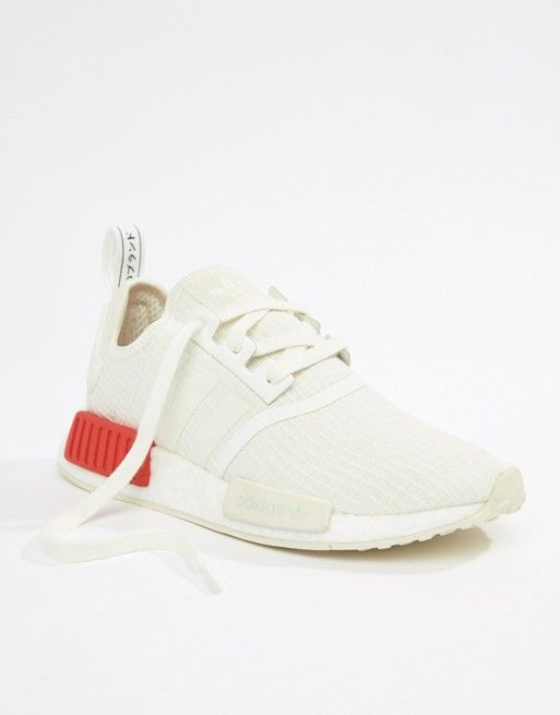 b7c099287 adidas Originals Nmd R1 Sneakers In White With Red Heel Block in ...