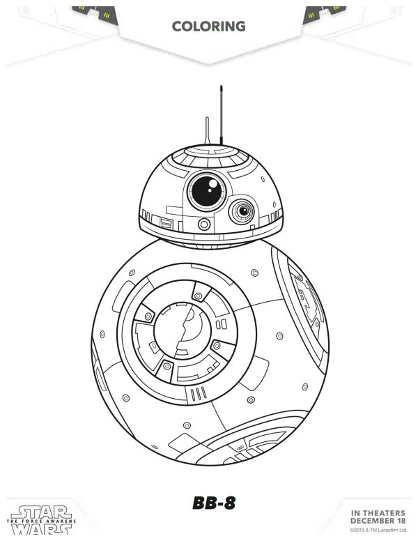 Star Wars: The Force Awakens BB-8 Coloring Page ...