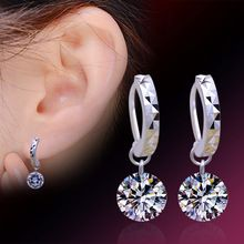 2016 New Women Silver 925 Sterling stud Earring Luxury Bling CZ Bare Rhinestone Female Ear Jewelry Wholesale(China (Mainland))