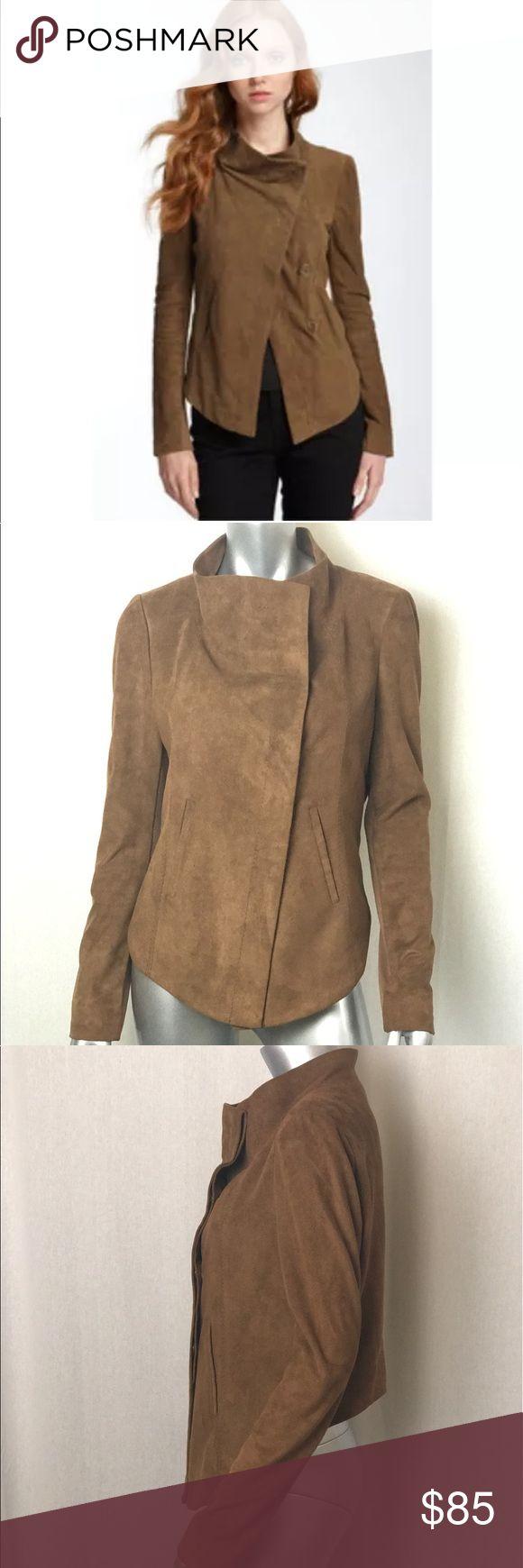 Bcbg Max Azria Faux Suede Jacket Size M Brown faux suede jacket  cropped in the back size m BCBGMaxAzria Jackets & Coats Blazers