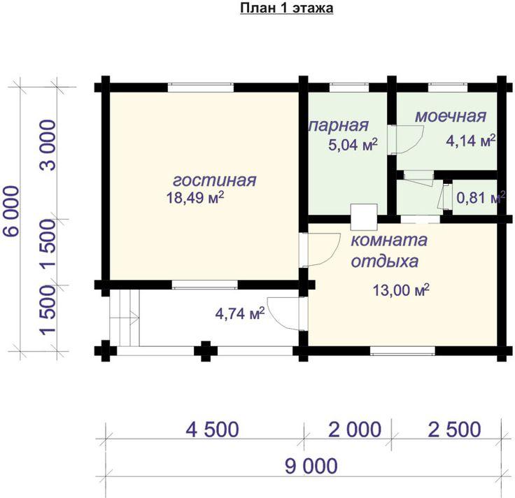 "Баня из бревна 6х9 м с гостиной. Проект БН-38 | ООО ""Савватеево"""