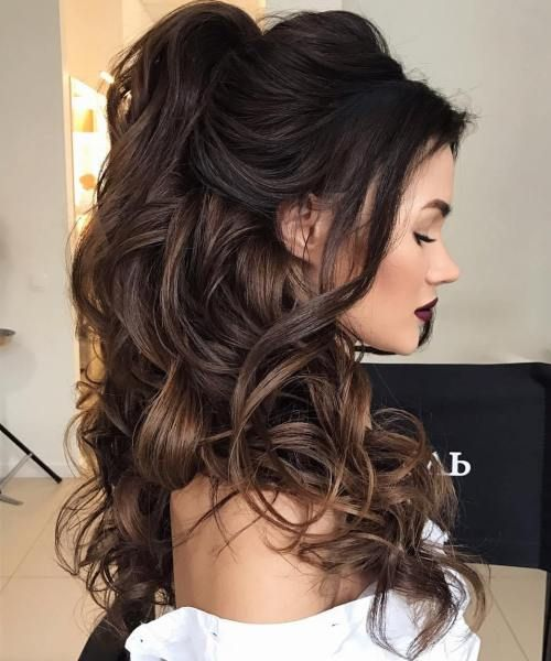 Curly Long Half Updo For A Bride