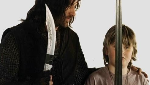 Viggo Mortensen with his son, Henry, during the filming of LOTR