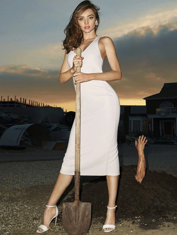 Miranda Kerr wears a white tank dress with white ankle-strap heels, photographed by Terry Richardson for Harper's Bazaar