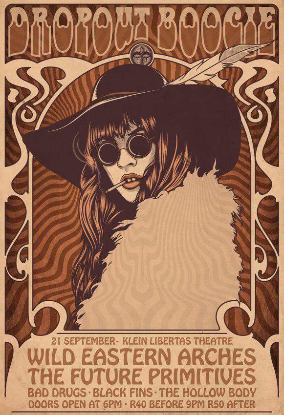 vintage + Psychedelic ~ by One Horse Town Illustration Studio, via Behance