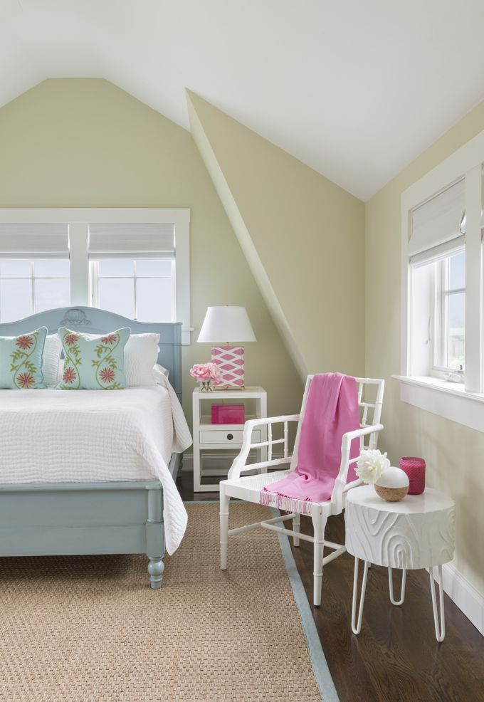 bedroom with pink and blue accents
