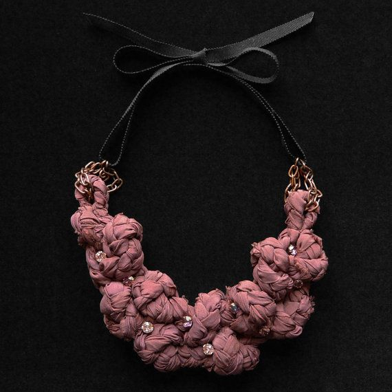 Knotted Silk Braid Necklace with Swarovski Crystals by LilaMorency