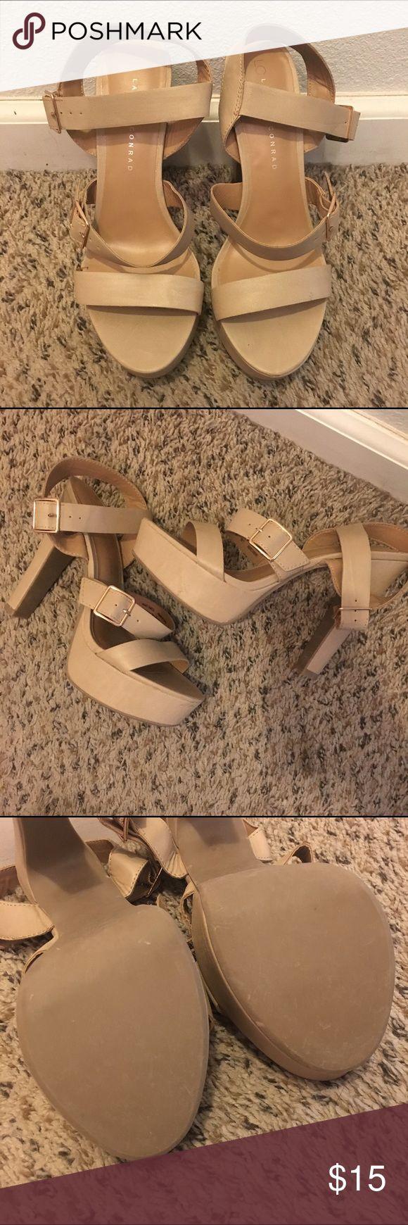 LC Lauren Conrad Nude Heels Nude strappy heels with side buckles by LC Lauren Conrad. Only worn a couple of times. LC Lauren Conrad Shoes Heels