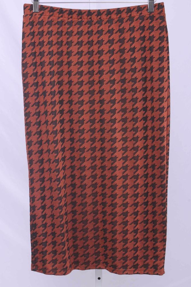 Bobeau Size L Black & Burnt Orange Houndstooth Stretch Pencil Skirt 1387 T117  | eBay