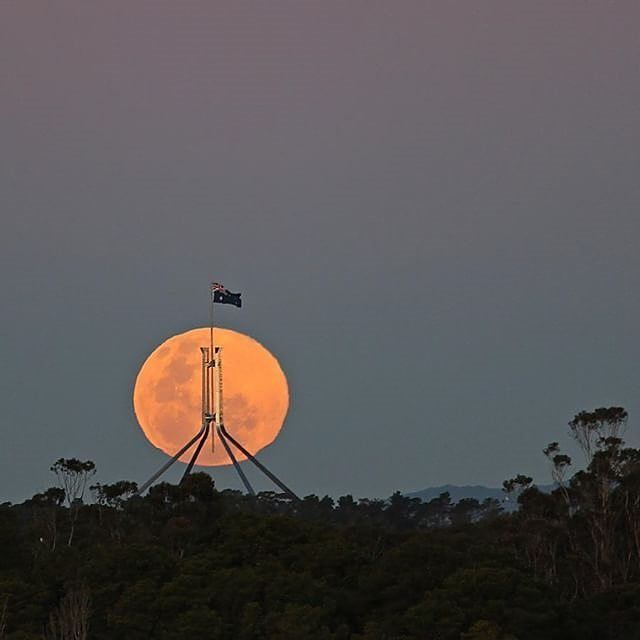 """I think I'll only get this shot once in a blue moon...this Parliament House shot only had about three months of planning."" We admire Instagrammer @housh45 for his determination to capture incredible images of the moon over the national capital and think this recent photo proves all the effort was worth it! #visitcanberra #seeaustralia"