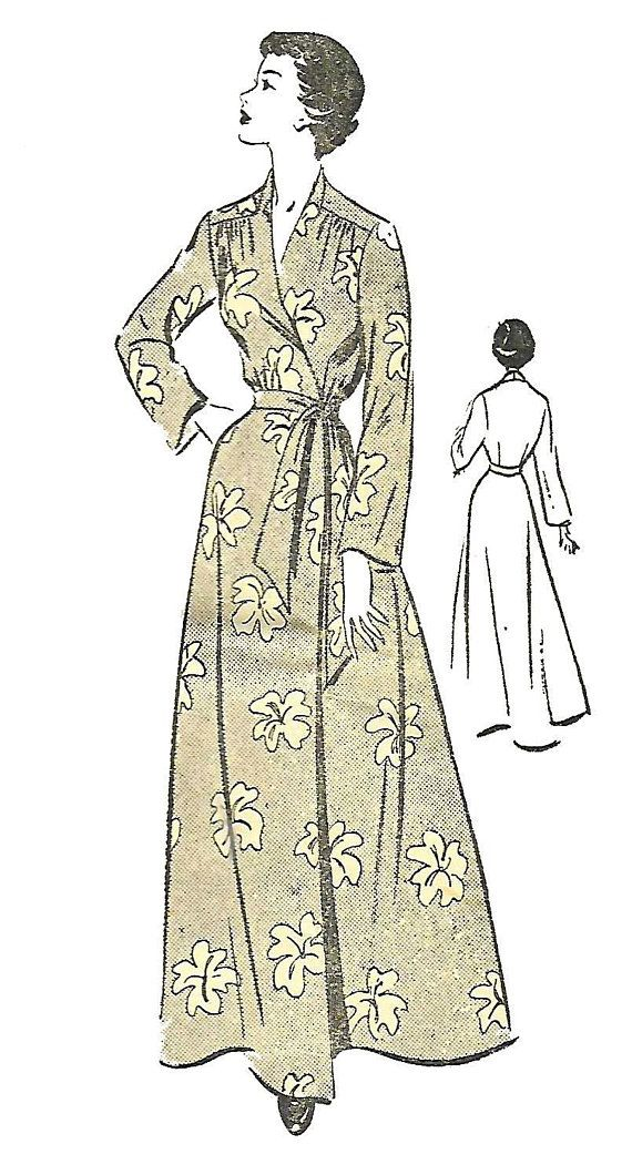 Vintage 1940\'s Sewing Pattern Wrap Housecoat Robe Dressing Gown ...