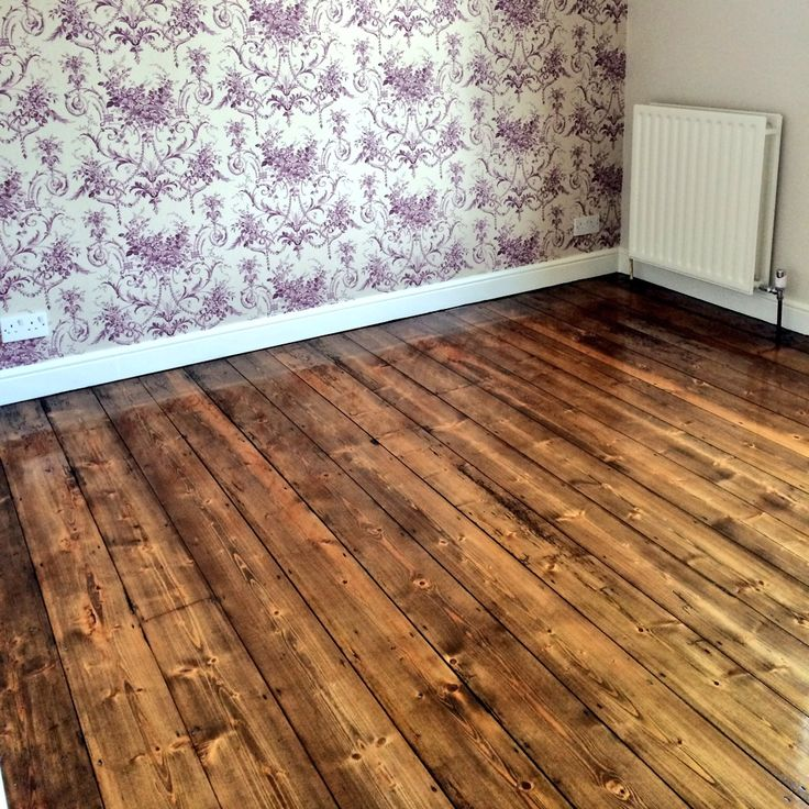 Original Pine Floorboards Stained With Antique Oak Oil I