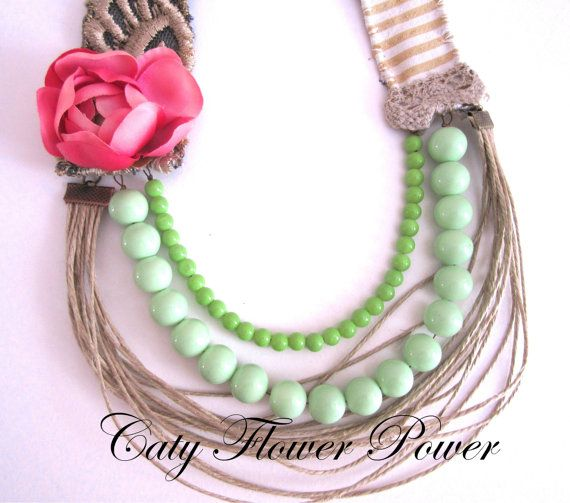 Multistranded flower necklace Boho string by catyflowerpower, $35.00