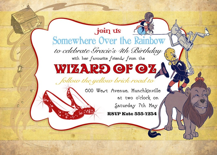 90 best Follow the yellow brick road images on Pinterest Yellow - birthday invitation wording for movie party