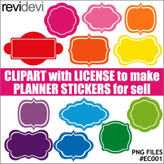Frames tags labels rainbow colors  digital clipart by revidevi