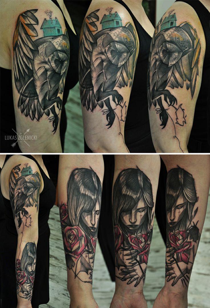 Lukas Zglenicki- Cykada Sopot #tattoo #owltattoo #girl #roses