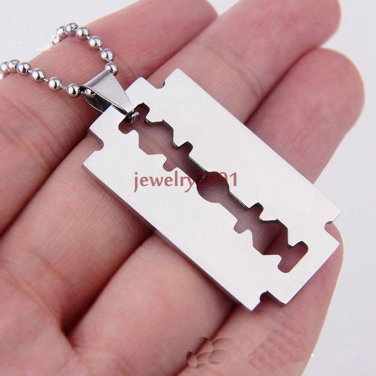 on sale men's jewelry fashion stainless steel silver tone razor blade pendant #Unbranded #pendantchain