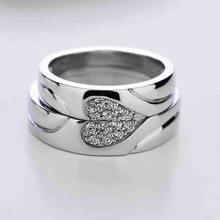 Blue Sweet Couple Rings Diamond Accent Half Heart Wedding Bands Puzzle Promise Set In Sterling Silver Matching His And Hers Jewelry For