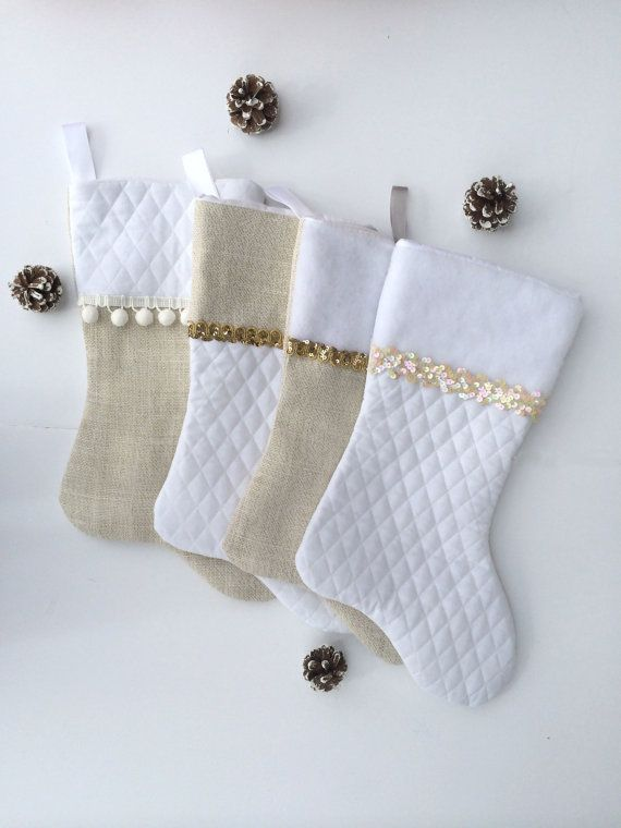 Family Christmas Stockings, SALE, Ready To Ship, Holiday Stockings, Gold Christmas, Burlap Stocking, Glam Stockings
