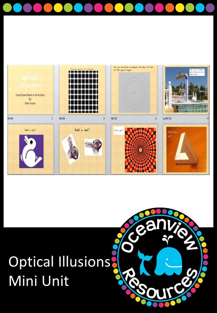 Ever needed a quick activity to have in your toolkit that is guaranteed to interest your students, and also use as a stimulus to discuss the work of MC Escher and then look at making your own 'optical illusion' art activity. This is a power point presention which can be printed or used on the IWB 34 pages linked to other activities and websites for $3.50! http://designedbyteachers.com.au/marketplace/optical-illusion-art-activity-or-brain-break/