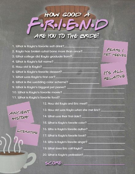 FRIENDS TV Show Trivia Bridal Shower Game Printable, How Well Do You Know the Bride Shower Game, FRIENDS Trivia Quiz, Bridal Shower Game