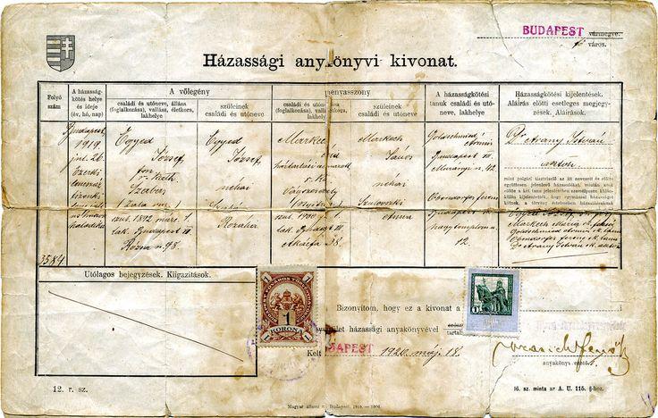 házassági anyakönyvi kivonat Egyed 1920 mei 18