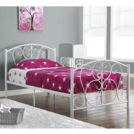 monarch specialties white metal twin size bed frame only