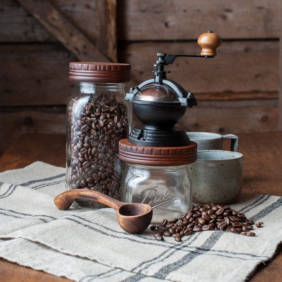 Coffee Mill Ceramic Burr Coffee Grinder by CattailsWoodwork