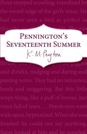 Pennington's Seventeenth Summer by K M Peyton.  Patrick Pennington is out of control, and seems to be heading for disaster. But when he meets Sylvia, he feels like his world has been turned upside down. Penn's seventeenth summer could be the most memorable of his life . . .